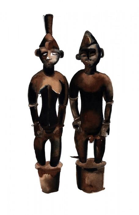 Couple Sénoufo - Encre sur papier | Sophie Testa | MRIART Gallery