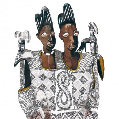 Ibeji Yoruba chefs - Encre sur papier | Sophie Testa | MRIART Gallery