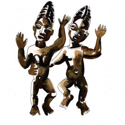 Ibeji Yoruba Daoulas - Encre sur papier | Sophie Testa | MRIART Gallery