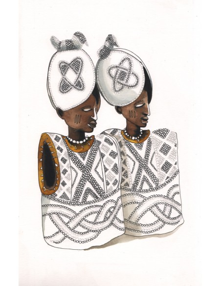 Ibeji figures filles - Encre sur papier | Sophie Testa | MRIART Gallery