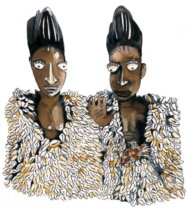 Ibeji Yoruba aux cauries - Encre sur papier | Sophie Testa | MRIART Gallery