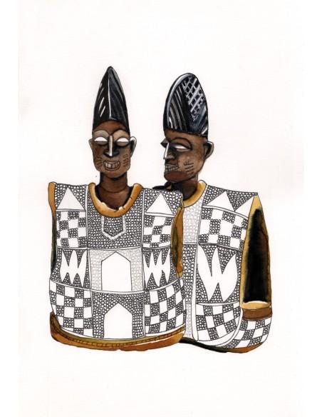 Ibeji Yoruba aux perles - Encre sur papier | Sophie Testa | MRIART Gallery