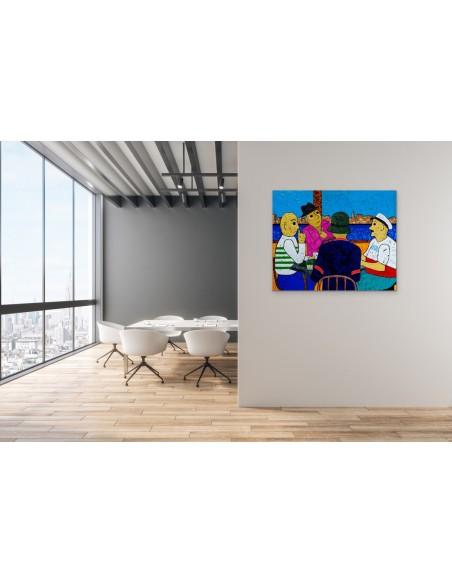 Mise en situation : La Partie de Cartes - Peinture Acrylique | Rouska | MRIART Gallery